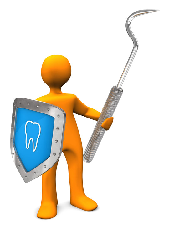 dental scaler and tooth shield illustration
